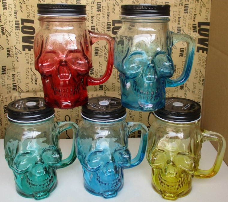 Glass Skull Face Drinking Mug