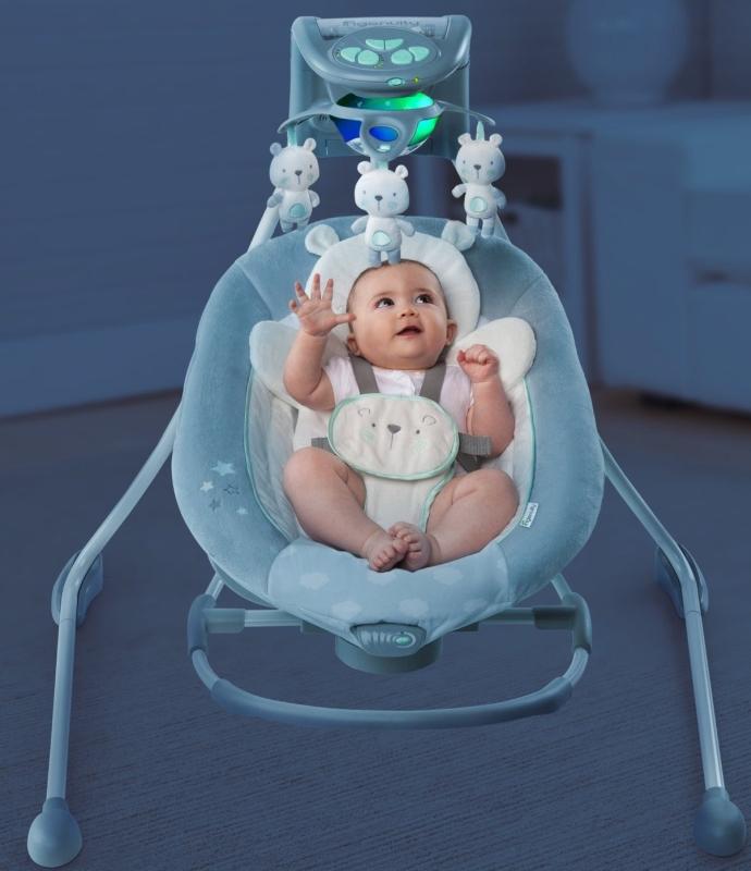 Ingenuity InLighten Cradling Swing & Rocker - Twinkle Twinkle Teddy Bear