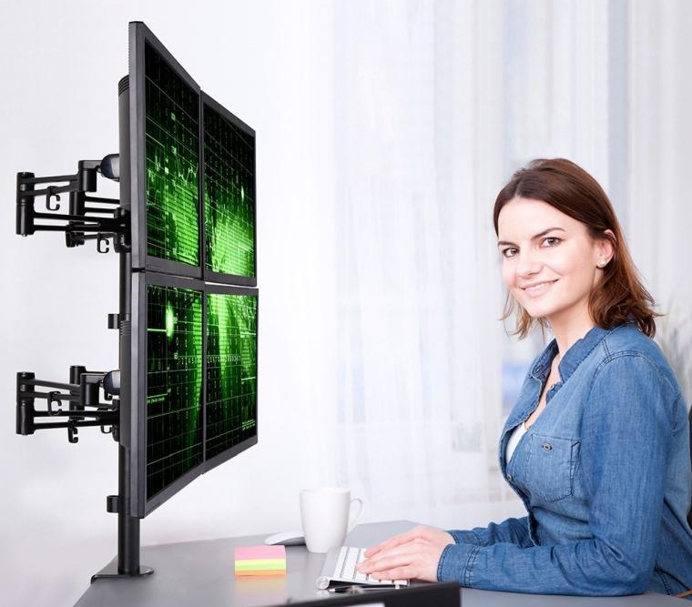 Loctek D2Q Full Motion Quad Monitor Arm Desk Mount Stands Fits