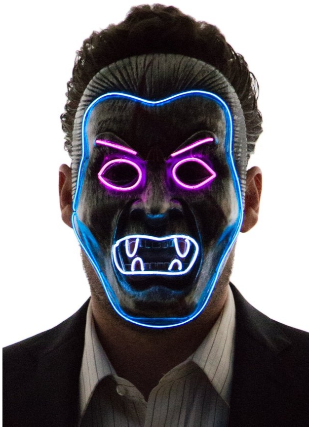 Neon Nightlife Men's Light Up Angry Man Mask