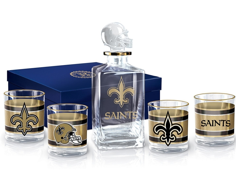 New Orleans Saints Decanter and Glasses Barware Gift Set