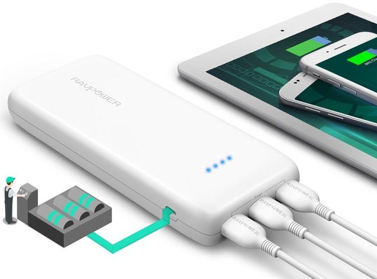 Portable Charger RAVPower 22000mAh 5.8A Output 3-Port Power Bank External Battery Pack