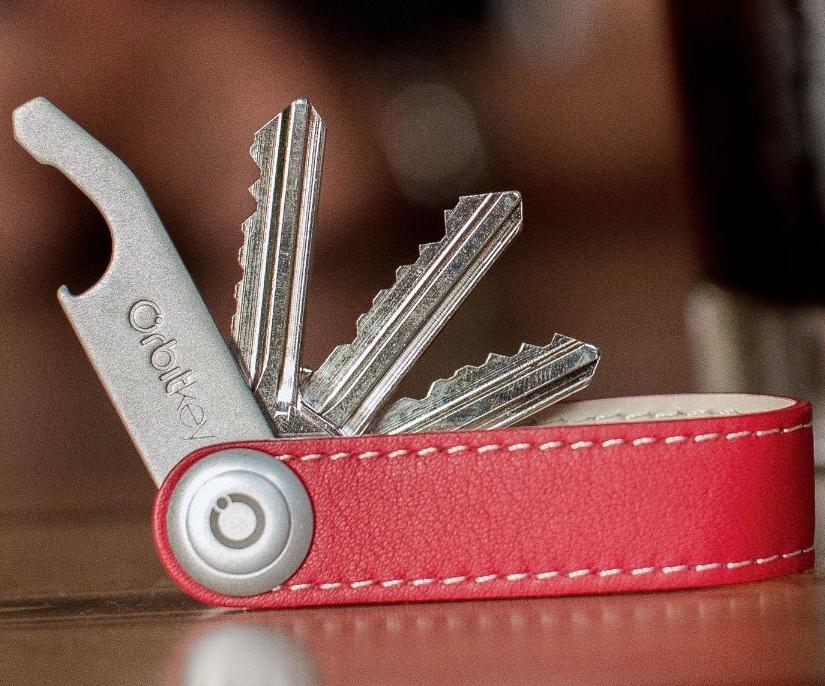 Premium Leather Orbitkey Red With White Stitching