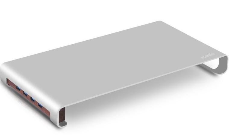 Suaoki Aluminum Alloy Desk Monitor Riser with 4 USB 3.0 Hub