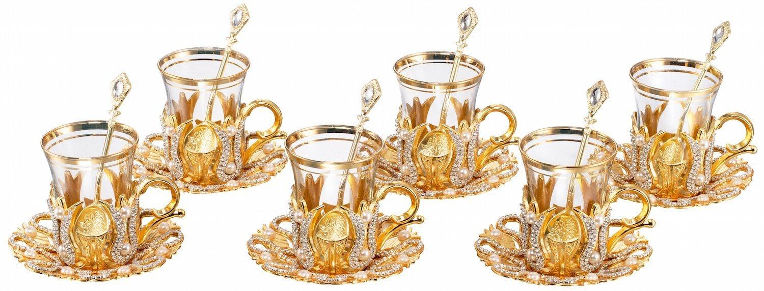 Tea Glasses with Holders Lids and Saucers Set