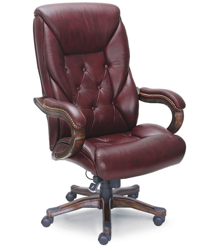 Traditional Oxblood Faux Leather Standard Executive Chair