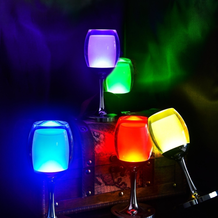Wine Glasses Rechargeable LED Cup Night Light