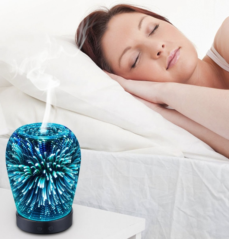 Essential Oil Ultrasonic Cool Mist Humidifier with 3D 14 Color Changing Starburst LED lights