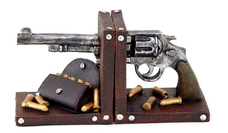 bookends-gun-pistol-book-end-black