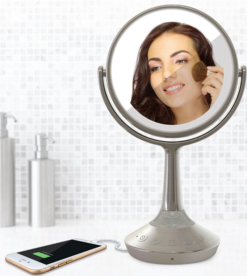 double-sided-vanity-mirror-with-bluetooth-audio-speakerphone-and-usb-charging-with-silver-nickel-finish