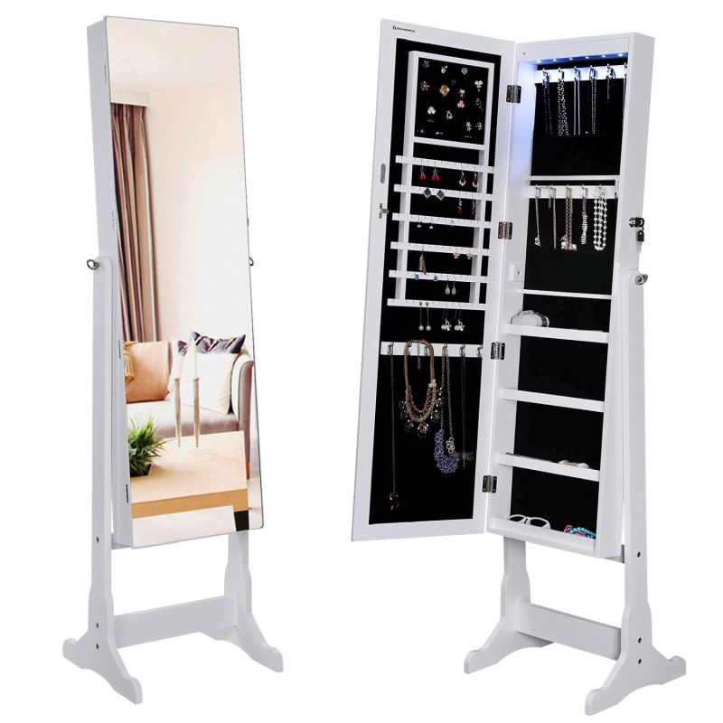 lockable-jewelry-cabinet-with-frameless-mirror