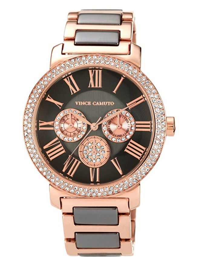 swarovski-crystal-accented-brown-and-rosegold-tone-multi-function-bracelet-watch