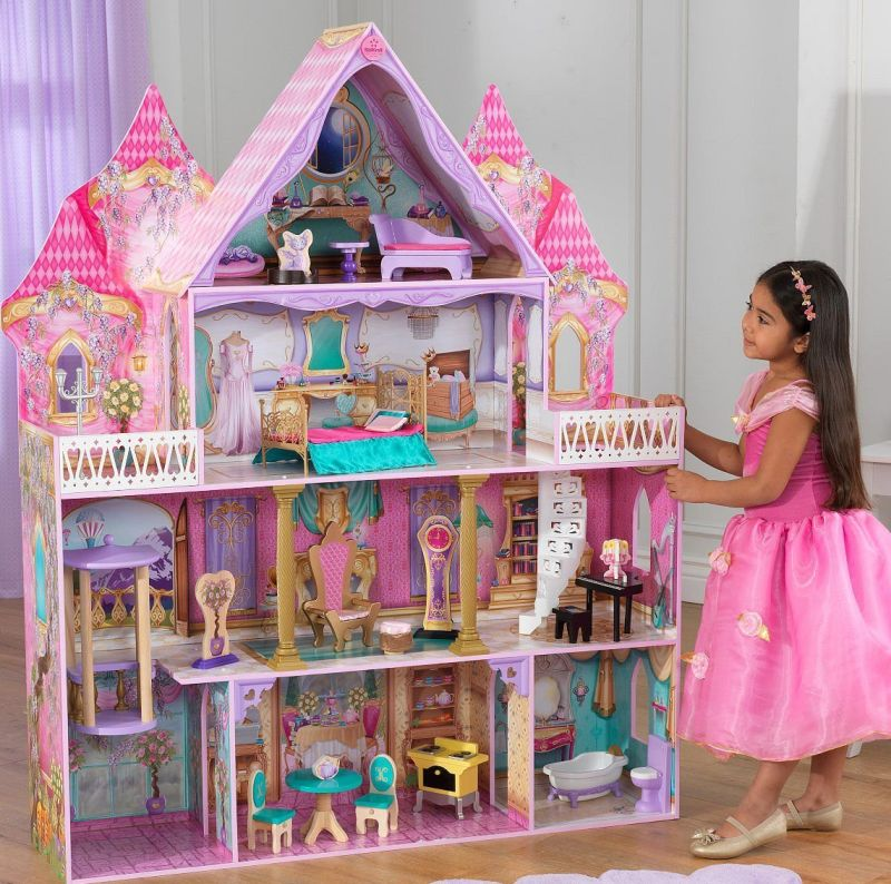 wooden-4-level-enchanted-princess-dollhouse-w-20-pcs-furniture