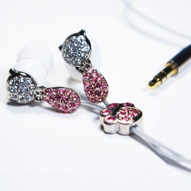 Earphone with Microphone Crystal Cat Pink