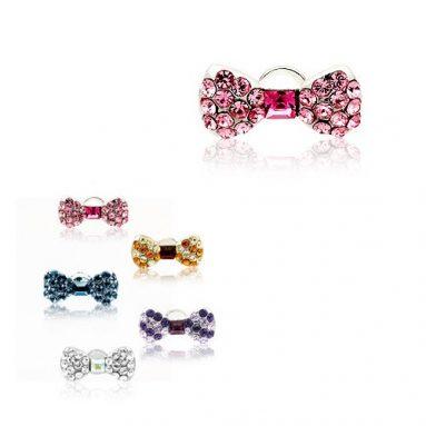 Swarovski Crystal Pretty Ribbon (Pink) Earphone / Headphone Plug
