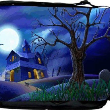 Halloween Haunted House on Blue Messenger Bag