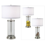 Fillable Glass Cylinder Collector's Table Lamp