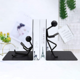 Bookends Decorative Book Ends Metal Black Heavy Duty Man