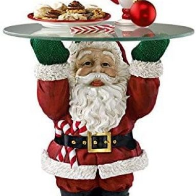 Santa Claus Glass Topped Holiday Decor Side Table