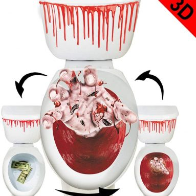 Toilet Seat Cover 3D Horror Morphing Decal