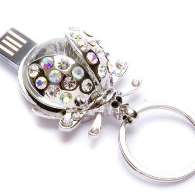 Crystal Ladybug Keychain Flash Drive