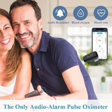 Wellue Oxylink Wireless Blood Oxygen Monitor with Audio Reminder in Free App