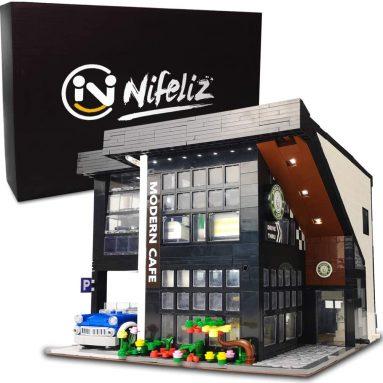 Nifeliz Street Modern Cafe MOC Building Blocks and Engineering Toy, Construction Set