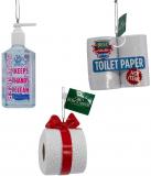 Kurt Adler Hand Sanitizer and Toilet Paper Ornament