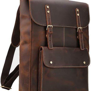 Laptop Messenger Bag Vintage Leather Men's Backpack