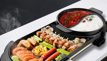Electric BBQ Grill Indoor Hot Pot 1500W Non-Stick Baking Pan