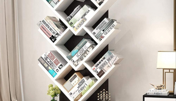 Wood Bookshelf Tree Storage Shelf Floor Standing Bookcase