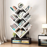 Wood Bookshelf Tree Storage Shelf Floor Standing Bookcase