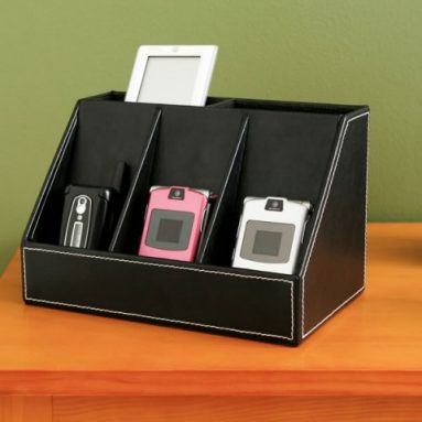 Faux Black Leather 3-Position Charging Station