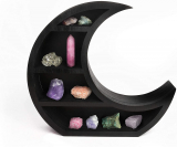 Wooden Black Crescent Moon Shelf – Gothic Witchy Room Decor
