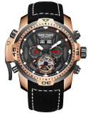 Reef Tiger Sport Luminous Watches Rose Gold Leather Strap Analog Automatic Men's Watch