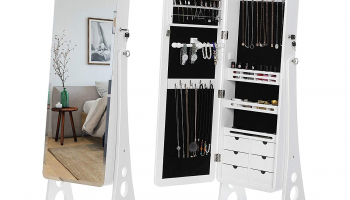 Cyber Monday: 8 LEDs Jewelry Cabinet with Bevel Edge Mirror Lockable Standing Armoire Organizer