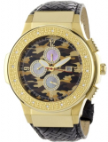 """Saxon Camouflage Black"" Braided Leather Diamond Watch"
