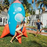 Inflatable Kids Rocketship Sprinkler for Lawns & Summer Entertainment