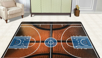 Basketball Print Court Sport Area Rug Rugs