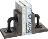 Industrial Pipe & Gray Wood 6-Inch Metal Bookends