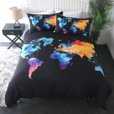 Map Bedding Colorful Watercolor World Map Print Duvet Cover
