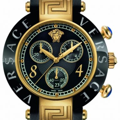 Versace Women's Gold Ion-Plating Chronograph Black Rubber Watch