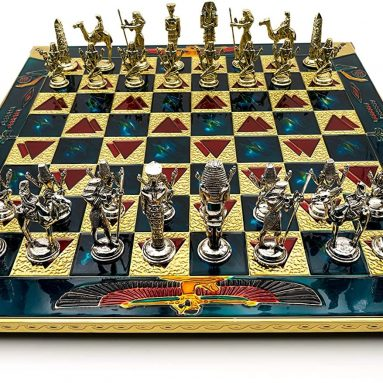 Handmade Egyptian Metal Chess Set in Wooden Box