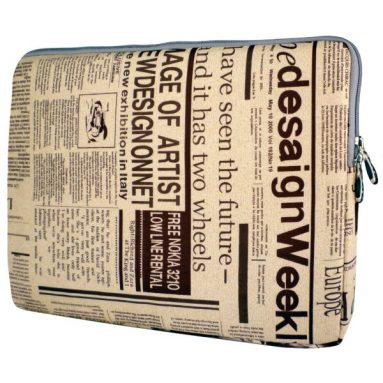 Newspaper Pattern Notebook Laptop Sleeve Bag