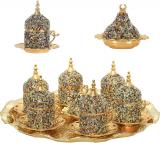 27 Pc Turkish Greek Arabic Coffee Espresso Cup Saucer Crystal Set