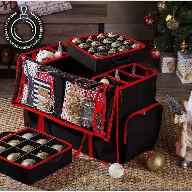 Super Rigid 2-in-1 Christmas Ornament Storage Box & Xmas Figurine Container