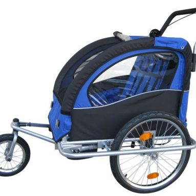 """Swivel"" 3in1 Double Baby Bicycle Bike Trailer & Jogger Blue"