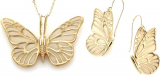 Butterfly Necklace Pendant and Dangle Earrings