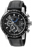 Citizen Men's 'World Time A-T' Quartz Stainless Steel and Leather Casual Watch