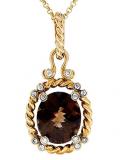 18k Heavy Yellow Gold Smoky Quartz and Diamond Rope Pendant Necklace